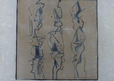 Ohne Titel Sand/Acryl auf Leinwand 50 x 50x
